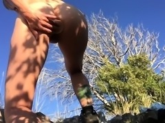 Kinky milf pleases herself and blows a cock in the outdoors
