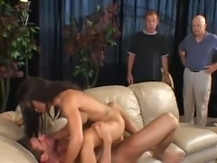 Bent over the sofa sinful Latina hooker Trixie Cas gets fucked doggy style