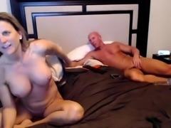 Blonde with big boobs fucking in sheer pantyhose
