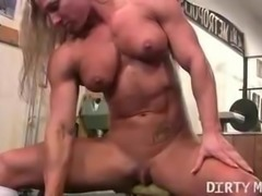 Naked Female Bodybuilder Shows Off Big Clit