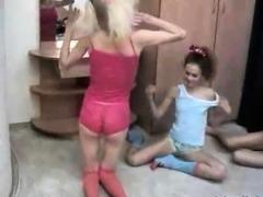 Lesbian threesome on webcam