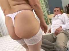 Amazing matured cowgirl in nylon stocking moaning while her pussy is licked