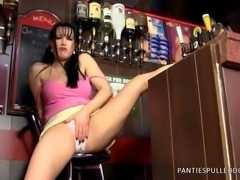 Filthy Barmaid Tanya Cox fucking a bottle!
