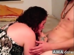 Wife Blows Huge Cock Lover, Makes him Cum. Hubby Films