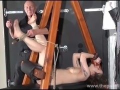 Feet whipping and amateur slave bondage of punished bdsm sub