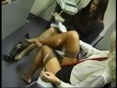 Office Stockings Lesbian Foot Massage