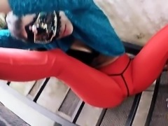 Big Cameltoe and Round Ass Babe In Tight Red Spandex