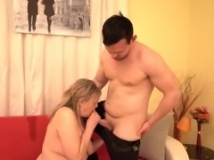 blonde mature with saggy tits sucks dick