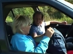 He fucks old blonde granny on the grass