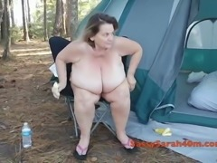 Big breasts mature with her  banana