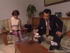 Enticing Japanese housewife has her furry furnace spooked with a thick dong hardcore