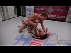 Tattooed MILF Jen Hexxx grinds and bites Racker&#039_s balls in this winner-fucks-loser mixed gender wrestling match