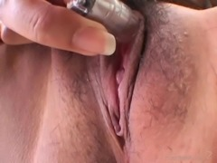 Asian slut gets her bushy kitty teased then nailed in MMF threesome