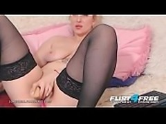 Lorenziia - Flirt4Free - Curvy Blonde in Black Stockings Dildos Her Hole and...