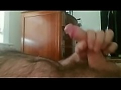 Man jerking off big cock to multiple orgasm cumshot