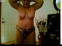 Chubby mature stripping and dancing