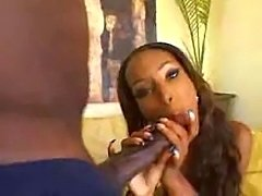 Sweet petite Ebony princess Honey Dip takes on mighty Mandingo's BBC.