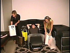 2 femdom shopping princesses tease their male slave.  CBT. Financial...