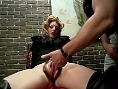 The infamous clip of the insertion of a full head in a destroyed pussy
