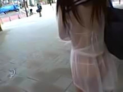 Cute asian girl in transparent uniform fucked in outdoor public parks & streets while watched by spectators.