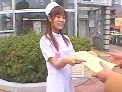 Petite Japanese Nurse draining all the sperms from the hospital patients and docs.