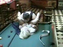 A slut in a tight jeans been fuck the crap out of her in every hole on the pool table