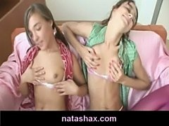 Natasha shy and her petite teen girlfriend touching their sm free