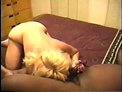 Husband videos his blond mature wife being fucked by a black dude after she wraps her lips around his big dark meat Good contrast. You can tell she loves to fuck. One of my favorite sluts to watch