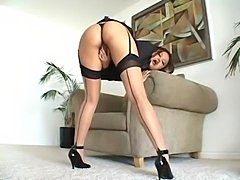 Annie Cruz takes multiple cocks in all her holes. At the end she takes loads up her asshole and farts the cum out and eats it.