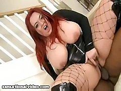 Jenstone is a redhead with huge tits and loves black cock