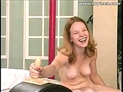 Redhead rides the great sybian machine