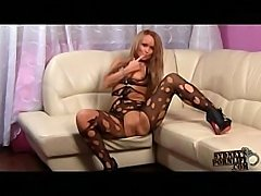 Messy girl in torn bodystocking craves some real hard fucking