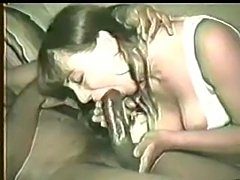 Lovely wife suck and fucks black guy. She gets a nice creampie... and then she licks and cleans up his big black cock.
