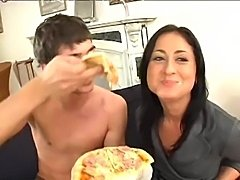Nice little Jane gets some pizza... a little banging with a big cock and then...