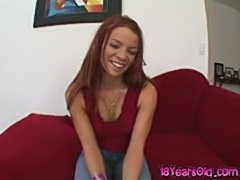 Flexible redhead teen vixen Brandy May giving head and sofa sex