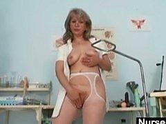 Filthy old mom in uniform wild masturbation