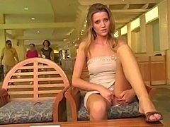 Blond hooker masturbating in public
