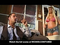 BLONDE COWGIRL WITH BIG TITS  ASS FUCKS IN CABIN