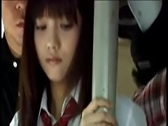 Japanese schoolgirl is gangbanged in crowded bus