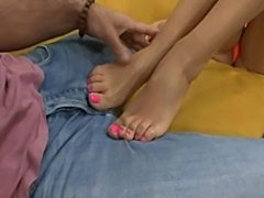 Hot pink toes!