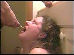 piss drinking bitch swallows cum